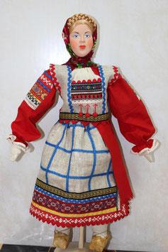 Кукла Рязанская губерния, женский льняной костюм, XIX в/А1-2-1