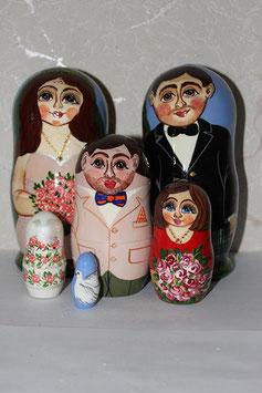 Матрешка свадебная №2, с частичным сходством(под заказ)