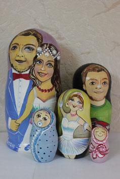 Матрешка свадебная №1, с частичным сходством(под заказ)