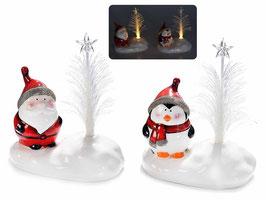 Figurine de Noël avec arbre en fibre optique