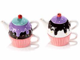 Set théière et tasse cupcake