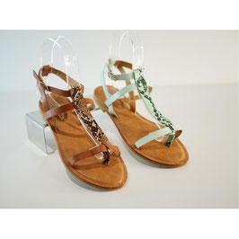Sandales vertes avec aspect croco