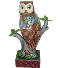 """Wide Eyed and Wise"" Perched Owl  - 4016891"