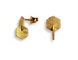 Ohrstecker 'Sechseck gesteckt' - Gold