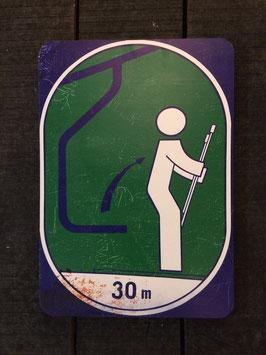 """Panneau signalisation ski """"levez vous du télésiège dans 30 mètres"""""""