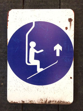 "Panneau signalisation ski ""relevez vos spatules"""
