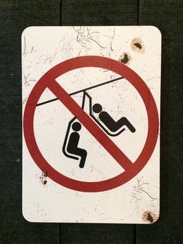 """Panneau signalisation ski """"Interdit de se balancer sur le télésiège"""""""