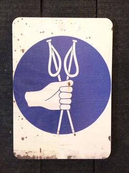 """Panneau signalisation ski """"Tenez vos bâtons dans une main"""""""