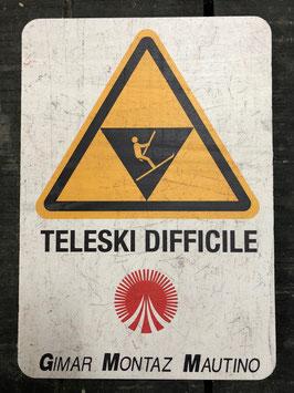 """Panneau signalisation ski """"Téléski difficile"""""""