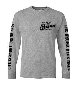 """LIFE IS SHORT, DRINK FAST"" LONG SLEEVE T-SHIRT (GRAY)"