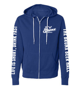 """LIFE IS SHORT, DRINK FAST"" ZIP-UP HOODIE (COBALT)"