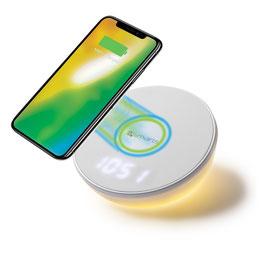 Wireless Charger VoltBeam N8 10W mit Uhr, LED Lampe weiß