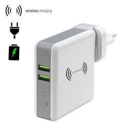 Wireless Powerbank HyperVolt 5200mAh mit Netzladegerät Funktion, Länderstecker weiß