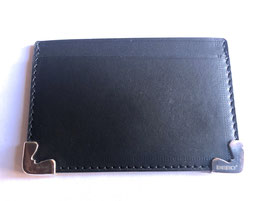 LEATHER CREDIT CARD WALLET WITH SOLID SILVER 925 CORNER