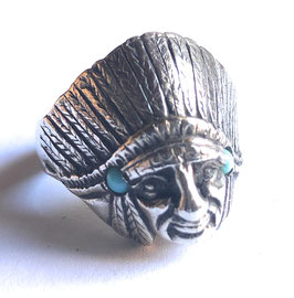 CHIEF RING IN SOLID SILVER  -  WITH TURQUOISE.