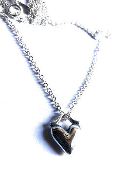 PUFFY HEART NECKLACE IN SOLID SILVER 925