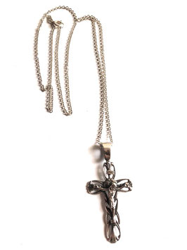 CROSS (CRUCIFIED - CRUCIFIX) NECKLACE IN SOLID SILVER 925 WITH ROLO CHAIN