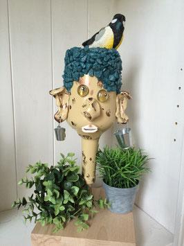 Flaschenkopf  mit Vogel