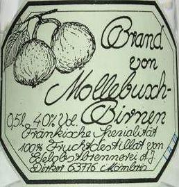 Brand von der Mollebuschbirne 0,5 l Flasche, Dirker