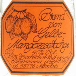 Brand von gelber Mangozwetschge 0,5 l Flasche, Dirker