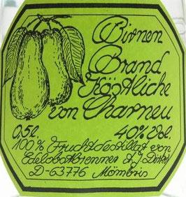 Birnenbrand Köstliches vom Charneu 0,5 l Flasche, Dirker