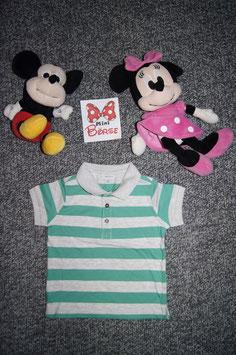 Polo-Shirt Gr. 80, grün-grau gestreiftes Polo-Shirt, drei Knöpfe vorne