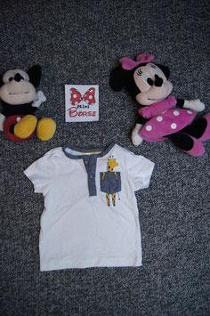 T-Shirt Gr. 92, weisses T-Shirt mit Giraffe, 2 Knöpfe vorne