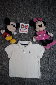 T-Shirt Gr. 74/80, weisses Polo-Shirt mit Bärchen, 2 Knöpfe