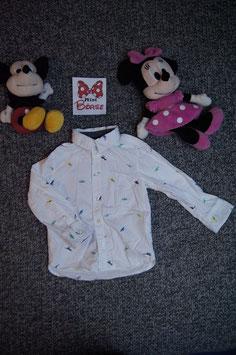 Hemd Gr. 92, weisses Hemd mit kleinen Dinos