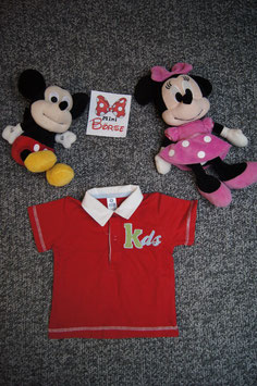"T- Shirt Gr. 74/80, rotes T-Shirt mit Kragen ""Kds"", 2 Knöpfe"
