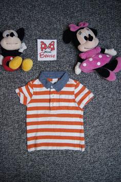 T-Shirt Gr. 98, orang-weiss gestreiftes Polo-Shirt