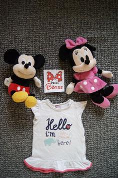"T-Shirt Gr. 68,  weisses T-Shirt ""Hello im new here"",  zwei Schulterndruckknöpfe"