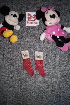 Socken, rote Sockenmit weissen Pünktli und Hund, fusslänge ca. 9cm