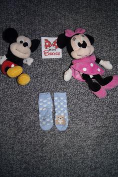 Socken, hellblaue socken mit Pfötchenabdrücke und antirutsch Punkte, Fusslänge ca. 9 cm