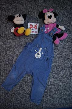 Latzhose Gr. 86, blaue Jeans Latzhose mit Hundegesicht, beide Beine aufknöpfbar