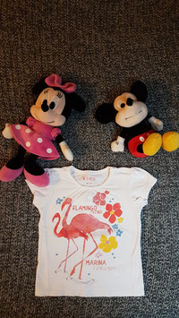 "T-Shirt Gr. 86-92, weisses T-Shirt ""Flamingo Friends"""