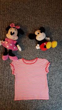 T-Shirt Gr. 86/92, weiss-pink gestreiftes T-Shirt