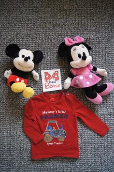 """langarm T-Shirt Gr. 68,  rotes langarm T-Shirt """"Farmer"""",  zwei Schulterdruckknöpfe"""