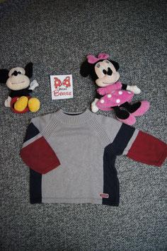 Pullover Gr. 92, grau-rot-blauer strick Pullover