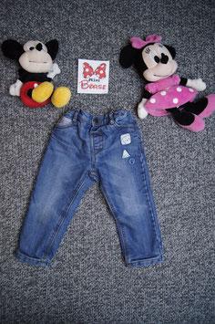 Jeans Gr. 92, dick gefütterte Jeans mit Druckknopf und Eisbärchen