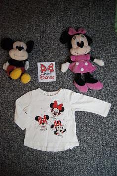 langarm T-Shirt Gr. 68/74, weisses langarm T-Shirt mit Minni Mouse, ein Knopf am Rücken