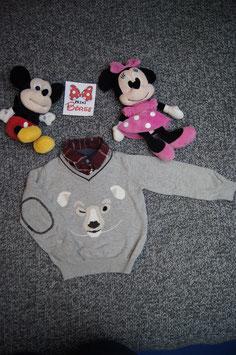Pullover Gr. 92, grauer Pullover mit Hempkragen