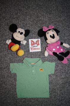 Polo-T-Shirt Gr. 80, grünes Polo-Shirt mit kleinem Löwe, 2 Knöpfe vorne