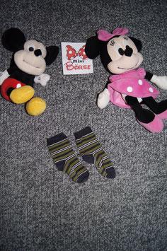 Socken, dunnkle weiss-blau-grün gestreifte Socken, Fusslänge ca. 10 cm