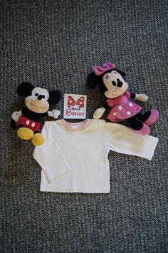 langarm T-Shirt Gr. 86,  weisses langarm T-Shirt mit rosa Kragen