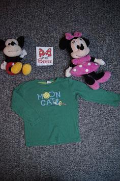"langarm T-Shirt Gr. 92, grüners langarm T-Shirt "" Moon Cat"""