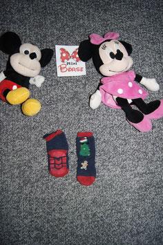 Socken, blau-rote weihnachtliche Socken mit antirutschsohle, Fusslönge ca. 9 cm