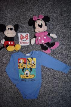 """Body Gr. 86/92, blauer Body mit """"Baby Pluto"""", 2 Schulterdruckknöpfe und 3 unten"""