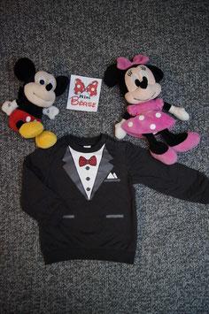 Pullover Gr. 92, hell schwarzer Pullover mit Anzug-look, 2 Schulterdruckknöpfe
