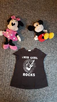 "T-Shirt GR. 80, schwarzes T-Shirt ""this Girl Rocks"", 1 Schulterdruckknopf"